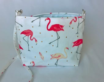 Flamingo print handbag