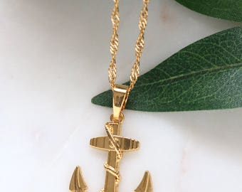 18k Gold Plated Anchor Necklace - Gold Anchor Pendant