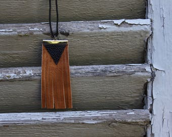 Dark brown leather adjustable cotton cord necklace