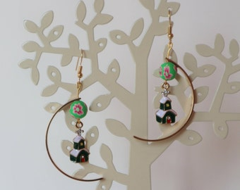 Christmas Vibes Earrings - Green House (green, gold, white)