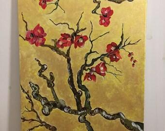 Original Acrylic Painting ,Sakura Blossoms, 40 x 50, Painting on Canvas