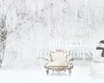 Christmas Digital Background Chair & Snowman