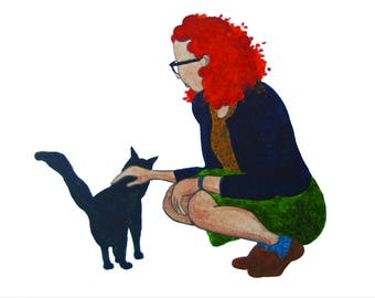 Girl With Cat Watercolor Print