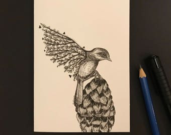 Feather Flight-blank hand sketched card