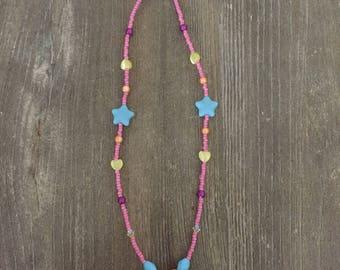 Fuhsia Jade Pendant with Sky Blue Stars Necklace