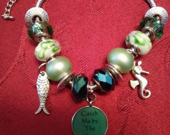 Catch Me By The Sea Designer Murano Bead Charm Bracelet