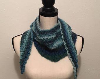 Blue Surf Madison Merino Wool Triangle Scarf