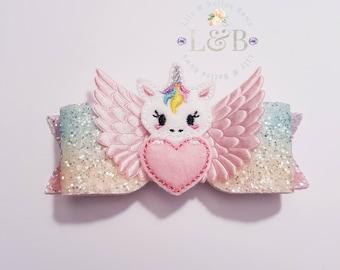 unicorn hair bow