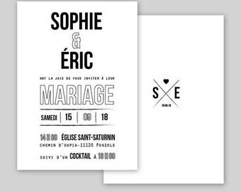 Printable - Invitation + RSVP postcard - wedding invitation Collection Typo