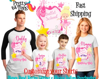 BALLERINA Birthday Girl Theme Family WHITE Shirts For the Entire Family Mom Dad Brother and More T-shirts Long/ Short sleeve Raglan dance