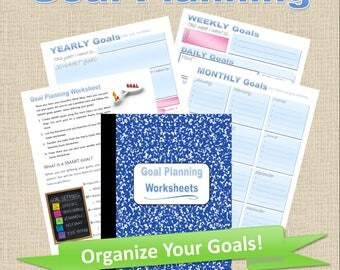 Printable Goal Planner Worksheets Pages, Goal Setting, Goal Planner Inserts, Productivity Planner, Monthly Goal Tracker, Weekly Goal Tracker