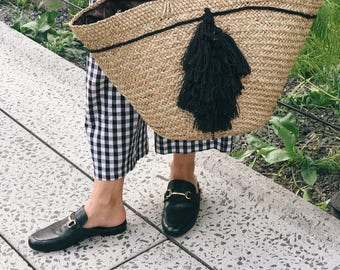 """Straw Bag with Tassels, Tote Bag - """"Darcy"""""""