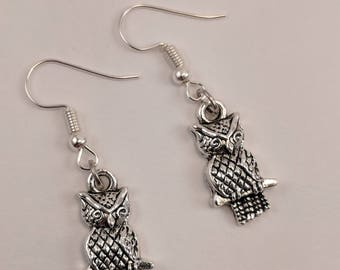 Silver Owl Earrings, Sitting on a Branch, Silver, Antiqued