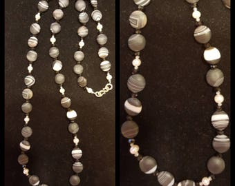 Polished Stone and Pearl Necklace