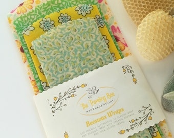 Beeswax Food Wraps-4 Piece Set-Floral Fabric-Spring Colors-Reusable-Organic-Cotton Fabric Food Covers-Eco-Friendly-Sustainable-Honey Bees