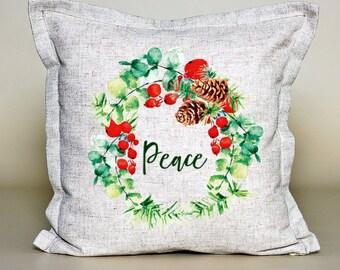 Christmas Pillow Cover, Holiday Peace, Pinecone Wreath, Christmas cushion, Christmas gift, 16''x16'', 100 % linen