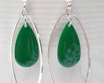 Dangle Silver earrings - silver closed oval ring - sequin drop enamel dark green