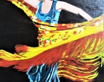 Flamenco dancer oil painting