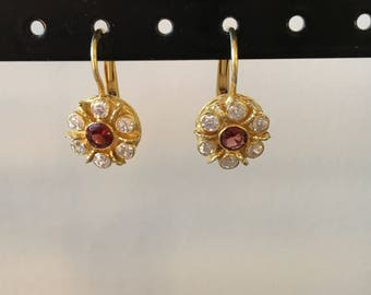 Sparkly cz &  garnet earring