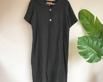 Vintage Black Linen Dress with Sailor Collar Plus Size XL