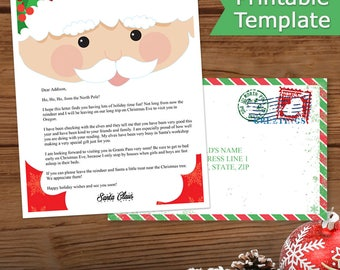 Letter From Santa North Pole, Letter From Santa Download, Editable Letter From Santa, Includes Envelope, Instant Download, Santa Face