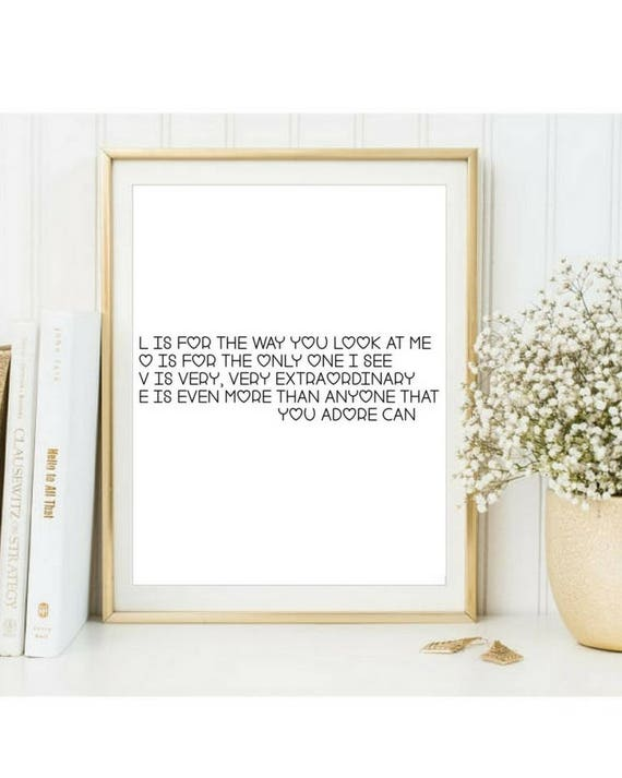 Nat King Cole Poster Print Love Song Lyrics Lyric Valentines Day Gift Music You Instant Download
