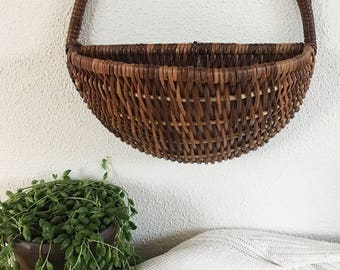Vintage Wall Basket Planter, Wall Hanging Wicker Basket, Woven Basket Plant Holder, Boho Decor, Wall Decor, Wall Pocket
