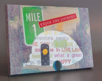 Enjoy the Journey Mixed Media Art Collage Gallery Wrap Canvas Print