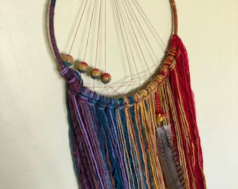 "Rainbow, woven bead 10"" Dreamcatcher"