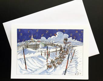 "Bunny Sleigh Christmas Card ""snowmen, hares and carrot noses"""