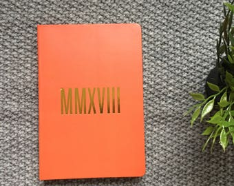 2018 - A5 - Roman Numerals Cover - Orange - Diary - Day to view - Calendar -  New year - 2018 - Planner - Agenda