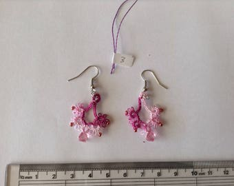 Handmade variegated pink cotton tatted earrings