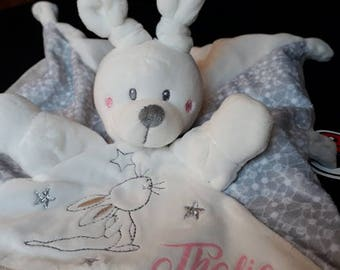 Cuddly plush Bunny, custom name for a newborn baby gift