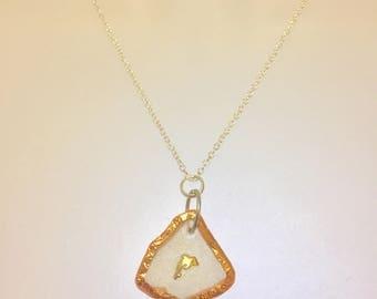 Sea Glass Necklace, 9CT GOLD DOLPHIN, Copper Sea Glass, Sea Glass Pendant,Beach Glass Necklace,Sea Glass Jewellery