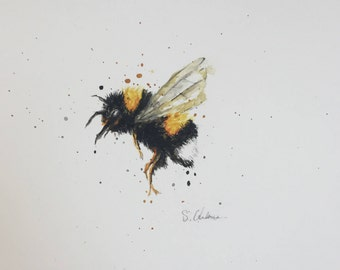 Original A5 Bee Watercolour Painting