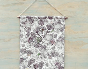 Hand Embroidered Floral Wall hanging