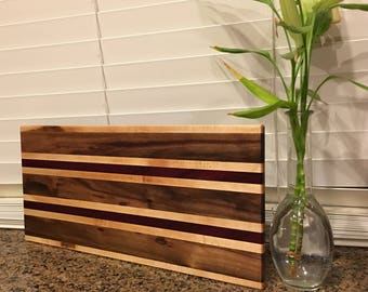Maple Walnut and Purpleheart Cutting Board