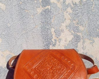 Orange Handmade Moroccan Embossed Leather Satchel Messenger Bag