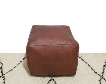 Square Stunning Tan Moroccan Leather Pouf, Moroccan Pouf Ottoman Footstool Poof Poufs
