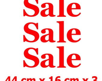 3 x SALE Shop Window Retail Sign Decals High Quality Vinyl Stickers 44 cm x 16 cm
