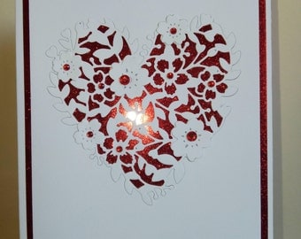 Red and white heart card