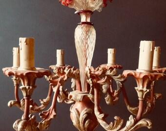 Rare, Wood and Murano Glass Italian Chandelier