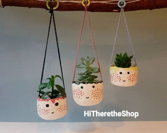 The Spotty Dotty Face Collection - handmade ceramic plant pot, hanging planter, high gloss finish, home decor, unique gift ideas, face pot.