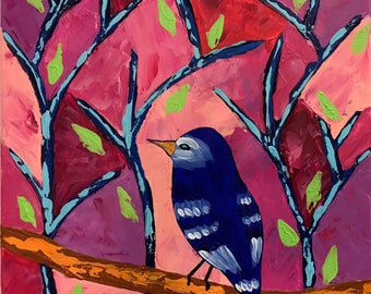 Pink Forest, Original  Acrylic painting ,made with palette knife and brushes. Blue Bird, Tree. Whimsical painting. Canvas Art.