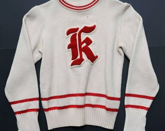vintage red and cream k sweater