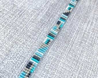 Turquoise Miyuki Delica Bracelet / Miyuki Bracelet / Beaded Bracelet / Miyuki Beads / Miyuki Bead Bracelet / Turquoise and Grey
