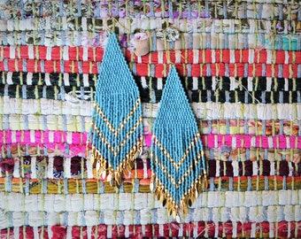 Boho Turqouise and Gold Fringe Beaded Earrings