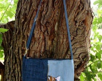 Denim Embroidered Bag for Women Bag of Textile Fabric for Embroidered Handbag for Women with Embroidery on Women's Bag with Embroidery