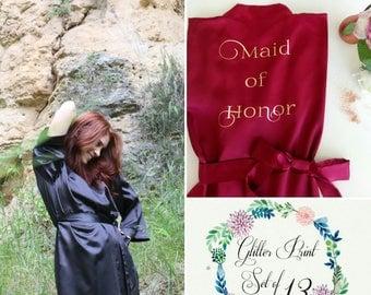 Set of 13 Bridesmaid Robe, Satin Bridesmaid Robe, Matron of Honor Gift , Personalized Satin Robe, Customized Satin Robe, Black Burgundy Robe