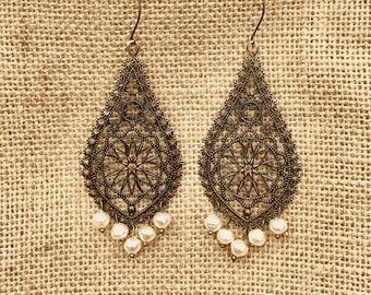 Chandelier Baroque Filigree Pearls drop earrings antique brass